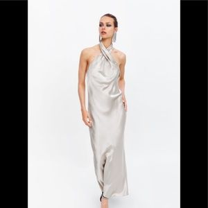 Zara limited edition halter neck maxi dress